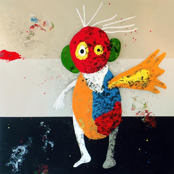VII. El orejas saludando. Suite Divertimentos Appeleanos. 2006. Óleo sobre lienzo. 200 x 200 cm.