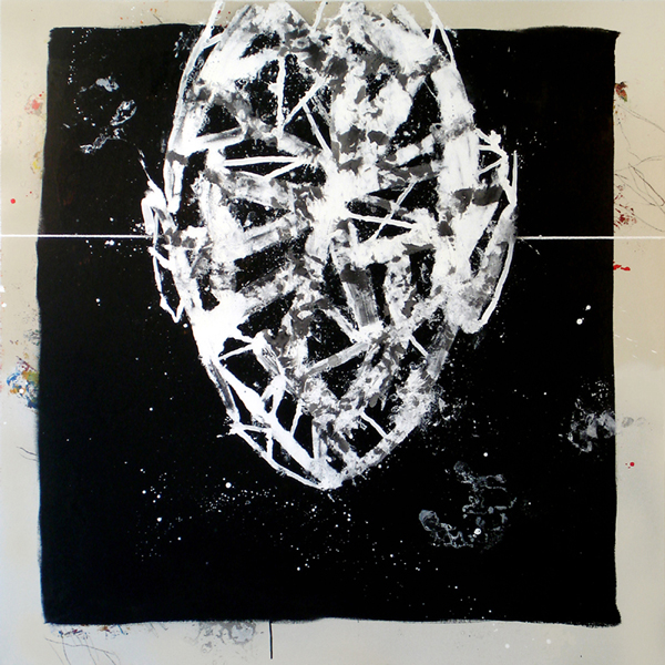 VIII. Cabeza blanca sobre fondo negro. Serie Estructuras. 2006. Óleo sobre lienzo. 200 x 200 cm.