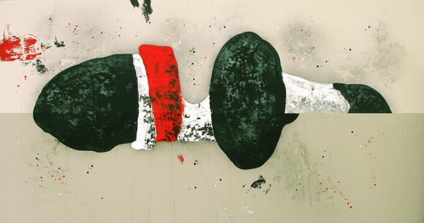 XV. Penélope l'amour. Serie La Guardia Place.2006. Óleo sobre lienzo. 200 x 380 cm.