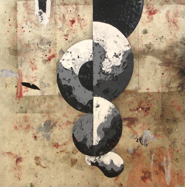 XVIII. Boceto con círculo. Serie La Guardia Place/El Jardín Perverso III. 2007.Óleo sobre lona plástica. 200 x 200 cm.