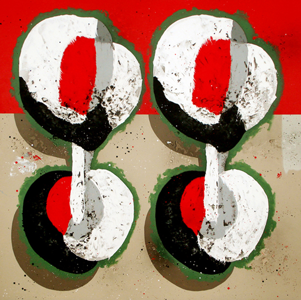 XXI. Busca las 7 diferencias. Serie La Guardia Place. 2007. Óleo sobre lienzo. 200 x 200 cm.