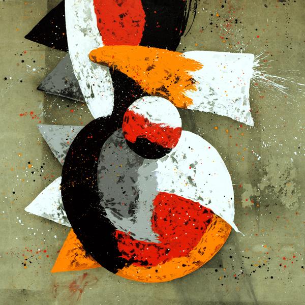 XXIX. Composición con Crestas. Serie Doodles/ Jardín Perverso IV. 2008. Óleo sobre lona plástica. 200 x 200 cm.