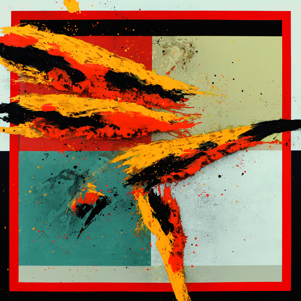 XXV. Violento Barroco. Serie Memoria Abstracta. 2009. Óleo y aluminio sobre lienzo. 200 x 200 cm.