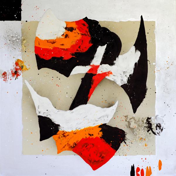 XXVIII. Máscara desocupada recordando a Giotto. Serie Máscaras Schandenmaske/ Desocupaciones. 2009. Óleo sobre lienzo. 200 x 200 cm.