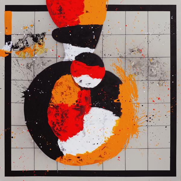 XXX. Días de musas. Serie Doodles.2009. Óleo y grafito sobre lienzo. 200 x 200 cm.